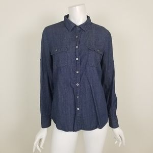 J. Crew Keeper Chambray Shirt in Dark Rinse Size 8